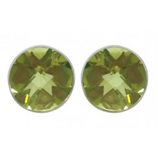 Round Yellow Lemon Quartz Push Back 6 Cts Stud Earrings