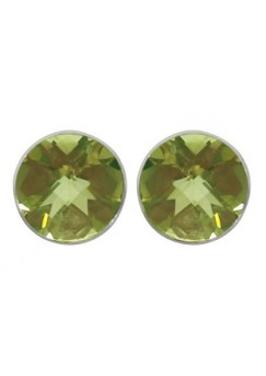 Round Yellow Lemon Quartz Push Back 6 Cts Stud Earrings