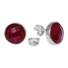 Round Red Ruby Push Back 10 Cts Stud Earrings