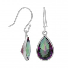 Pear Shape Rainbow Mystic Quartz Ear Wire 4.1 Cts Dangle Earrings