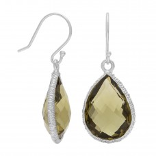 Pear Shape Olive Green Olive Quartz Ear Wire 14 Cts Hammered Style Dangle Earrings