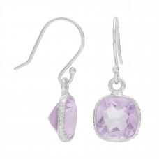 Cushion Shape Pink Amethyst Ear Wire 4.2 Cts Dangle Earrings