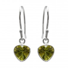 Heart Shape Green Peridot Ear Wire 0.51 Cts Dangle Earrings