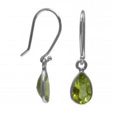Pear Shape Green Peridot Ear Wire 2.1 Cts Dangle Earrings