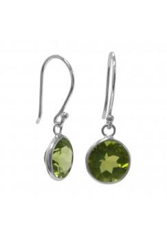 Round Green Peridot Ear Wire 4 Cts Dangle Earrings