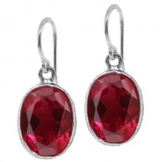 Oval Red Ruby Ear Wire 15 Cts Hammered Style Dangle Earrings