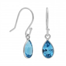 Pear Shape Blue Swiss Topaz Ear Wire 1.04 Cts Dangle Earrings