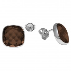 Cushion Shape Brown Smokey Quartz Push Back 12 Cts Stud Earrings