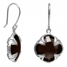 Clover Shape Brown Smokey Quartz Ear Wire 11 Cts Four Leaf Style Earrings