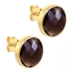 Round Brown Smokey Quartz Push Back 9 Cts Stud Earrings