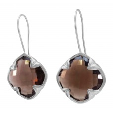 Clover Shape Brown Smokey Quartz Ear Wire 45 Cts Four Leaf Style Earrings