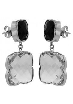 Clover Shape Black, White Multistone Push Back 48 Cts Dangle Earrings