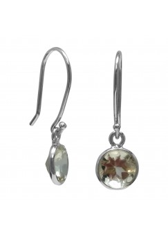 Round White Topaz Ear Wire 1.65 Cts Dangle Earrings