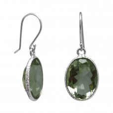 Oval Green Amethyst Ear Wire 10 Cts Hammered Style Dangle Earrings