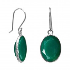 Oval Green Onyx Ear Wire 10 Cts Hammered Style Dangle Earrings