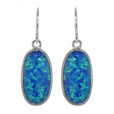 Oval Blue Opal Ear Wire 3 Cts Hammered Style Dangle Earrings
