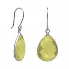 Pear Shape Yellow Lemon Quartz Ear Wire 12 Cts Hammered Style Dangle Earrings