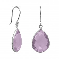 Pear Shape Pink Amethyst Ear Wire 14 Cts Hammered Style Dangle Earrings
