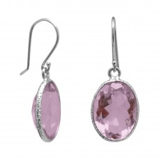 Oval Pink Amethyst Ear Wire 10 Cts Hammered Style Dangle Earrings