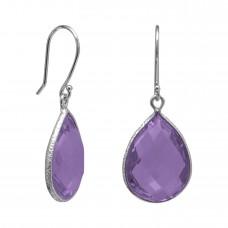 Pear Shape Purple Amethyst Ear Wire 14 Cts Hammered Style Dangle Earrings