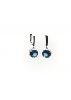 London Blue Topaz Stud Push Back Drop Silver Earrings