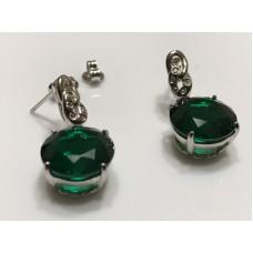 Simulated Emerald 14mm Push Back Drop Earrings