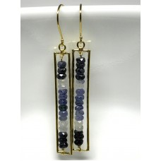 MULTI-COLOR SAPPHIRE YELLOW GOLD PLATED DANGLE EARRINGS