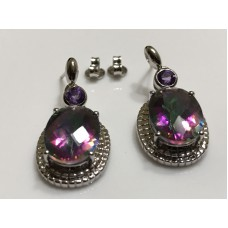 Mystic Topaz 10 x 14 mm Oval Pushback Dangle Earrings