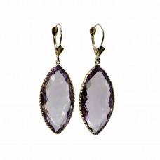 """33.55  cts Purple 4.5""""cm  14K Yellow Gold Amethyst Dangle Earrings"""