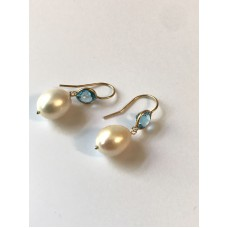 14K Yellow Gold London Blue Topaz and Pearl Dangle Ear Wire Earrings