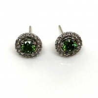 1.42 Ct Green Diamond Halo White Diamond 0.40 Ct 14K White Gold Setting Stud Pushback Earring