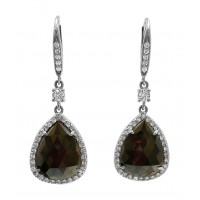 Dark Grey Diamond slice Dangle Earring