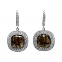 Chocolate Diamond Slice Dangle Earring w/double Halo