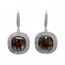 Chocolate Diamond Slice Dangle Earring w/double Halo
