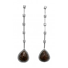 Sleek Brown Diamond Slice Dangle earring