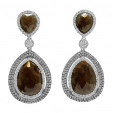 14K White Gold with White & Brown Diamonds and Diamond Slices