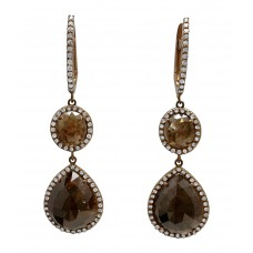Brown Double Diamond Slice Dangle Earrings