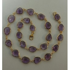 Oval Purple Amethyst Sterling Silver 284 Cts Necklace