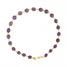 Oval Purple Amethyst Sliced Gems Style Sterling Silver 65 Cts Necklace