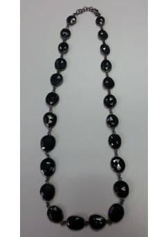 Oval Black Spinal Sterling Silver 125 Cts Necklace