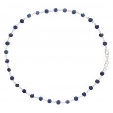 Round Blue Sapphire Chain Link Style Sterling Silver 35 Cts Necklace