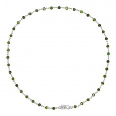 Round Green Chrome Diopside Chain Link Style Sterling Silver 10.5 Cts Necklace