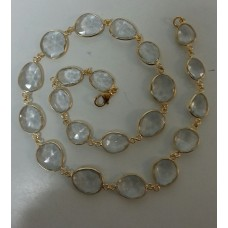 Oval White Crystal Sterling Silver 255 Cts Necklace