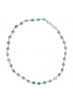 Round Green Emerald Chain Style Sterling Silver 30 Cts Necklace