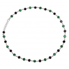Round Multi Color Multi Stone Chain Link Style Sterling Silver 36 Cts Necklace