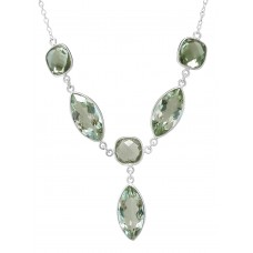 Marquise / Cushion Shape Green Amethyst Chain Style Sterling Silver 23 Cts Necklace
