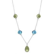 Cushion / Round, Pear Shape Multi Color Multi Stone Station Style Sterling Silver 17 Cts Necklace