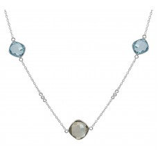 Cushion / Round Shape Multi Stone Station Style Sterling Silver 12.5 Cts Necklace
