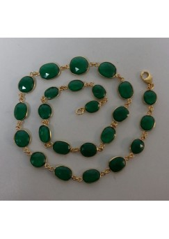 Oval Green Onyx Sterling Silver 100 Cts Necklace
