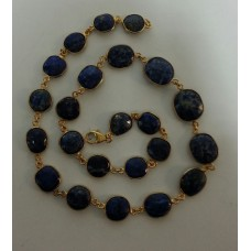 Oval Dark Blue Lapis Sterling Silver 346 Cts Necklace